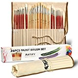 Set Artistique De 26 Pinceaux Artify Pour Peinture Acrylique, Peinture À L'huile, Aquarelle, Gouache   Mélange De Poils De Porc ...