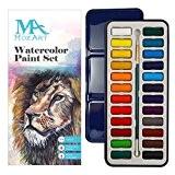 Set de peinture aquarelle - 24 couleurs lumineuses - léger et transportable - parfait pour les amateurs et les artistes ...
