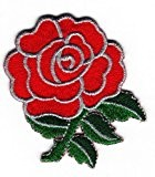 Sew-on Patch thermocollant brodé Rose Anglaise Rouge-Badge