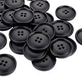 Shappy Grands Boutons Noirs Bouton de 4 Trous pour Bricolage Artisanat Couture Diamètre de 30 mm (13/16 Pouce), 50 Paquets