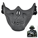 SODIAL(R) Airsoft Masque Crane Squelette Airsoft Paintball Moitie Visage Proteger Masque d'Airsoft (Noir)