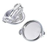 Souarts Couleur Argent Clip Boucles d'oreilles pour Glass Cabochons Dome Rond de 12mm x12mm 20 PCS