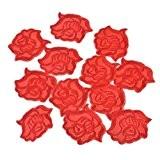 Souarts Écusson Brodé Patch Thermocollant Forme Rose pr DIY Denim Fabric Rouge 20Pcs