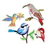 Souarts Mixte 4PCS Cartoon Motifs Oiseaux Écusson Brodé Patch Thermocollant pr DIY Denim Fabric 6cmx4.8cm-8cmx11cm