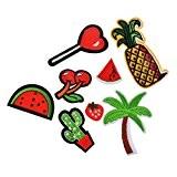 Souarts Mixte 8PCS Fruits etc Écusson Brodé Patch Thermocollant pr DIY Denim Fabric 2.15cmx2cm-8.6cmx3.9cm