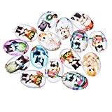 Souarts Mixte Glass Cabochons dome en Verre Motif Animal Chat Ovale pour DIY Scrapbooking Motif Aléatoire 25mmx18mm 10pcs