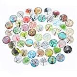 Souarts Mixte Glass Cabochons dome en Verre Motif Arbre de Vie Rond pour DIY Scrapbooking Motif Aléatoire 16mm 20pcs