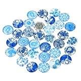 Souarts Mixte Noctilucent Lumineux Glass Cabochons Dome en Verre Motif Porcelaine Rond DIY Motif Aléatoire 20mm 10pcs