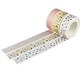 Souarts Mixtes Motif Point Ruban Adhésif d'emballage Décoratif en Papier 15mm 3 Rouleaux