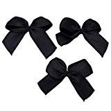 Souarts Nœud Papillon Ruban Satin Noir Appliques Couture Scrapbooking Embellissement 25x20mm Lot de 200pcs