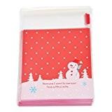 Souarts Sac Sachet Pochette d'emballage pour Cookies Bonbons Biscuit Motif Bonhomme de Neige Noël 10x15cm 50pcs