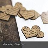 Souvenirs de mariage en bois en forme de cœur pour invitations ou décorations Personnalisable 4 cm, Bois dense, naturel, 100