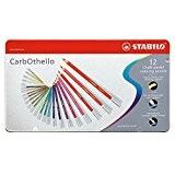 STABILO CarbOthello - Boîte métal de 12 crayons de couleur fusains pastels - Coloris assortis