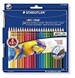 Staedtler - 144 10NC24 - Noris Club Aquarell - Etui Carton 24 Crayons de Couleur + Pinceau