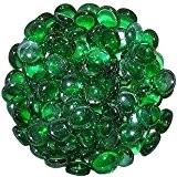 Stoned Galets décoratifs ronds en verre Vert 1 kg 15-20 mm