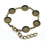 Support bracelet bronze pour 6 cabochons 12mm
