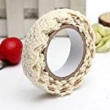 SYG(TM)Rouleau Ruban Dentelle Décoratif Adhésif Autocollant Galon Cadeau Masking Tape artisanat 1.7m Tissu en coton beige