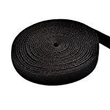 TFY Réutilisable Velcro Sangle,0.75 pouces x 180 pouces (Noir)