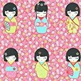 Tissu de coton imprimé | poupées japonaises 'Kokeshi' - bleu turquoise, anis, carotte et rot (tissu rose) | Largeur: 155 ...