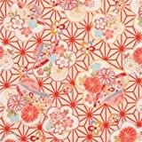 Tissu Dobby crème structuré avec des fleurs de cerisiers multicolores & feuilles