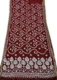 Tissu Georgette En Mousseline De Soie Mariée Bordeaux Saree Indien Brodé Usure De Mariage Des Femmes Sari Cru 5 Cour