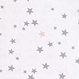 Tissu lange 100% coton étoile - Gris & rose poudré