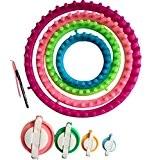 Tmade Lot de 4Cercle papier froissé tisser Ensemble à tricoter Craft Kit Chaussette Écharpe Chapeau Maker (diamètre?: 13cm, 18cm, 23cm, ...