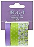 Toga MT93 3 Ruban de Masquage Fleurs/Pois Washi Tape Violet/Vert Anis 6,5 x 9 x 5 cm