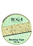 Toga MT98 Masking Tape Ecriture Vintage Washi Tape Beige 5,5 x 7 x 1,5 cm