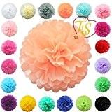 """TtS 6""""(15cm) Boules de Fleurs Tissu Papier Pom Pompons Papier de soie Boule Balle Pr Mariage Fête décoration - pêche ..."""