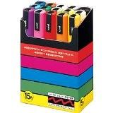 Uniball PC5M15 UNI POSCA Boite 15 marqueur peinture Base eau pointe moyenne ogive Assorties