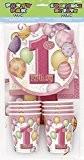 Unique Party - 23887 - Kit de Fête 1er Anniversaire Ballons pour 8 Invités - Rose