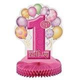 Unique Party - 23904 - Décoration de Table - 1st Birthday - Ballons - Nid d'Abeilles - Rose - 35 ...