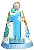 Unique Party - 23951 - Paquet de 8 Chapeaux de Fête 1er Anniversaire Ballons - Bleu