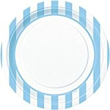 Unique Party - 37985 - Paquet de 8 Assiettes - Carton - Motif Rayé - 23 cm - Bleu Pastel