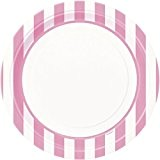 Unique Party - 37995 - Paquet de 8 Assiettes - Carton - Motif Rayé - 23 cm - Rose Pastel