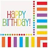 Unique Party - 47112 - Paquet de 16 Serviettes en Papier - Happy Birthday - Fête Arc-En-Ciel