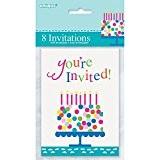 Unique Party - 49614 - Paquet de 8 Invitations de Fête Confettis de Gâteau d'Anniversaire