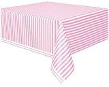 Unique Party - 50307 - Nappe - Plastique - Motif Rayé - 2,74 x 1,37 m - Rose Pastel
