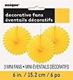 Unique Party - 63259 - Paquet de 3 Mini Rosaces de Décoration en Papier de Soie - Jaune