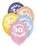 Unique Party - 80213 - Ballons Nacrés - Happy 30th Birthday - Latex - 30 cm - Coloris Aléatoire