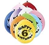Unique Party - 80305 - Ballons Gonflables - Happy 6th Birthday - Latex - 23 cm - Modèle aléatoire