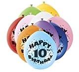Unique Party - 80309 - Ballons Gonflables - Happy 10th Birthday - Latex - 23 cm - Coloris Aléatoire