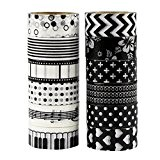 UOOOM 12 Rolls Beautiful Washi Tape Masking Tape Ruban adhésif décoratif coloré klebebänder DIY Scrapbook Décoration noir (black)
