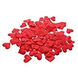 VANKER 1Paquet Forme de Coeur Pétales de Fleurs en Tissu Mariage Confettis Décoration(Rouge)