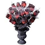 Vase gothique avec roses décoration Halloween noire-rouge 15 roses bouquet de roses avec vase déco florale décoration roses