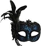 Vénitien Accessoire Déguisement Masquerade Côté Plume Masque Serre-tête - Bleu, Taille Unique, taille unique