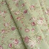 Vieux Rose Imprimé floral rose Tissu popeline de coton style vintage tissé coloris-Vert Sauge-Vendu au Mètre