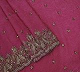 Vintage Indian Saree Georgette Tissé Magenta Usagé Artisanat Sari Sarong Tissu 5YD