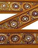 Vintage Indian Sari Border Utilisé brodé Garniture femmes ruban orange dentelle 1YD